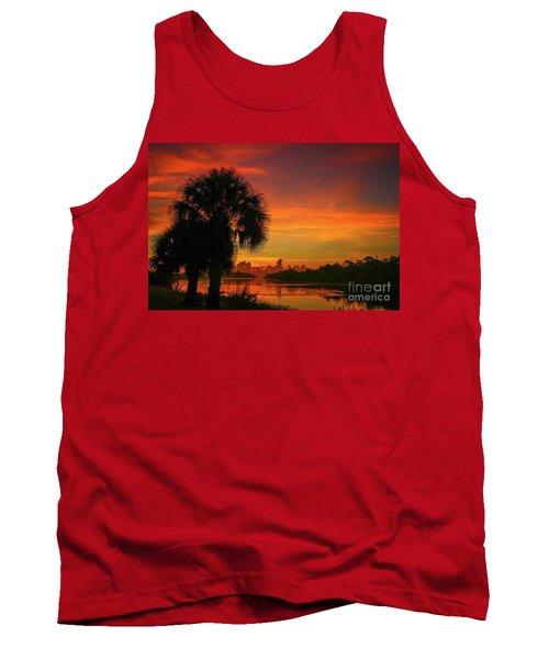 Palm Silhouette Sunrise Tank Top