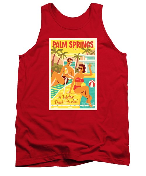 Palm Springs Retro Travel Poster Tank Top by Jim Zahniser