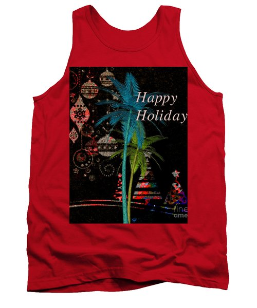 Tank Top featuring the digital art Palm Trees Happy Holidays by Megan Dirsa-DuBois