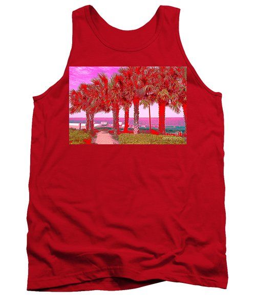 Palms In Red Tank Top