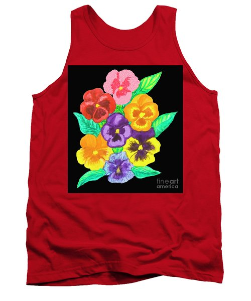 Pansies On Black Tank Top