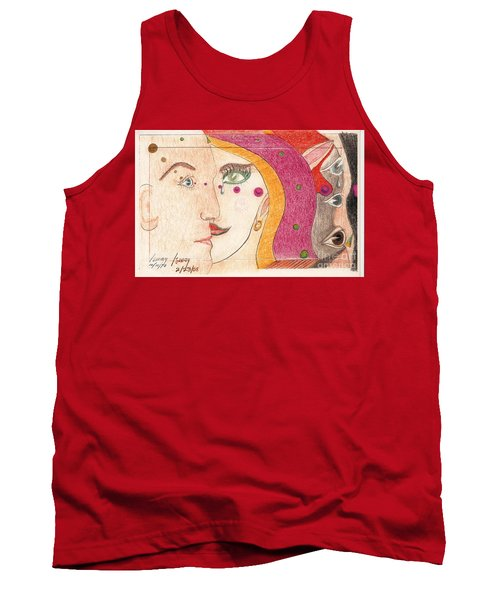 Tank Top featuring the drawing Paranoia by Rod Ismay