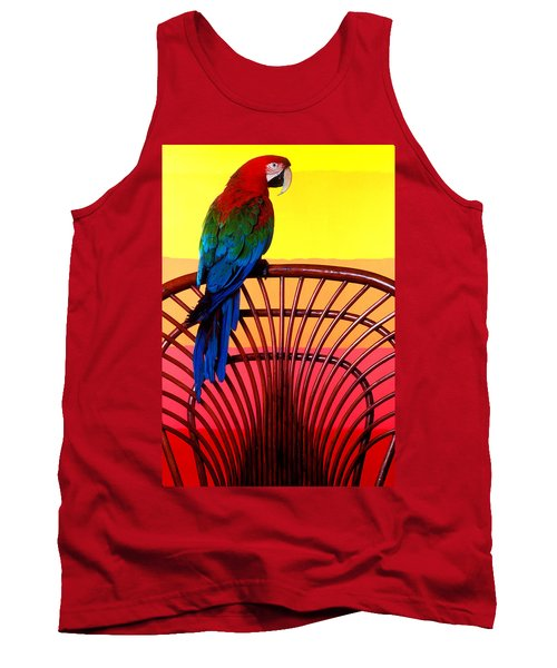Parrot Sitting On Chair Tank Top