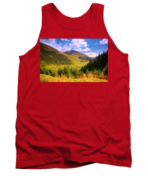 Peaceful Sunny Day In Mountains. Rest And Be Thankful. Scotland Tank Top