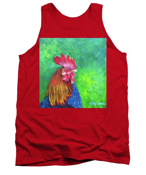 Morning Rooster Tank Top by T Fry-Green