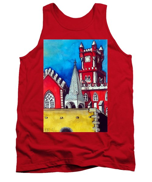 Tank Top featuring the painting Pena Palace In Portugal by Dora Hathazi Mendes