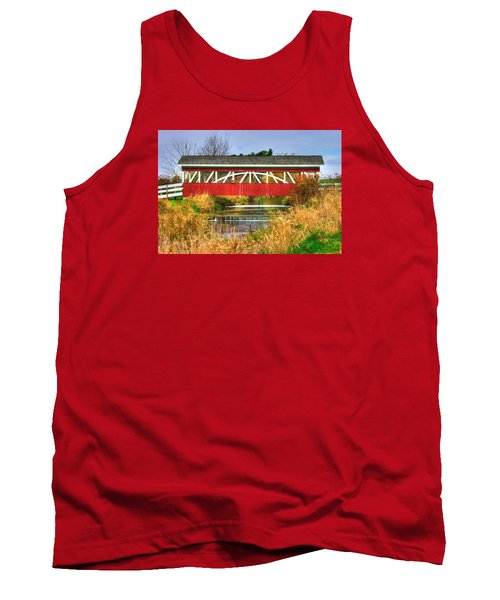 Pennsylvania Country Roads - Oregon Dairy Covered Bridge Over Shirks Run - Lancaster County Tank Top by Michael Mazaika
