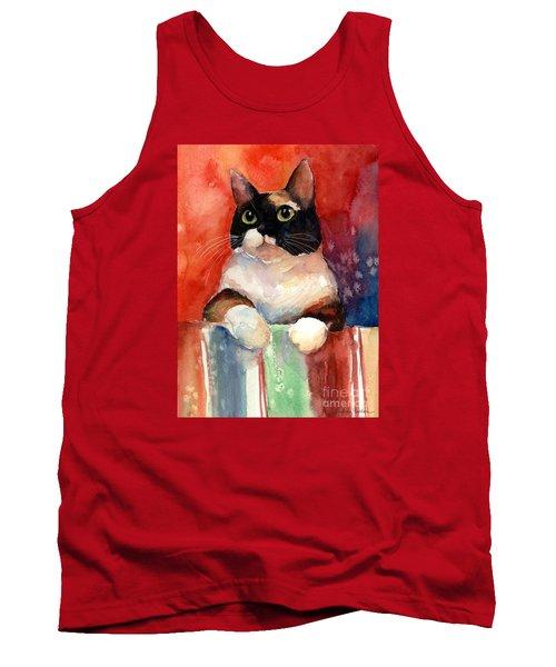 Pensive Calico Tubby Cat Watercolor Painting Tank Top by Svetlana Novikova