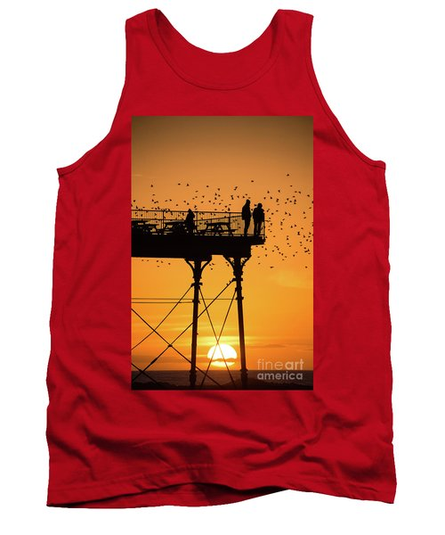 People On The Pier Sunset And Starlings In Aberystwyth Wales Tank Top