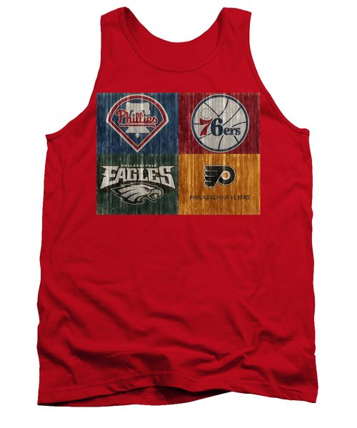 Tank Top featuring the mixed media Philadelphia Sports Teams by Dan Sproul
