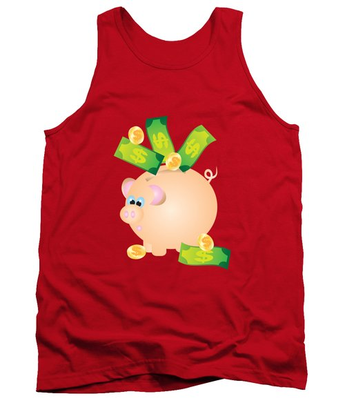 Piggy Bank With Bills And Coins Illustration Tank Top