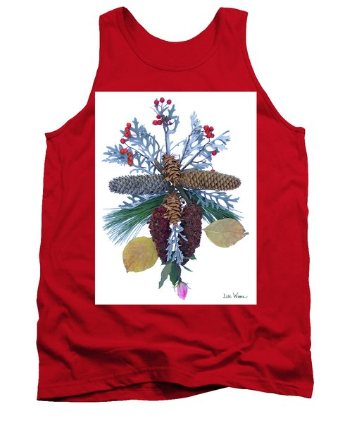 Tank Top featuring the digital art Pine Cone Bouquet by Lise Winne