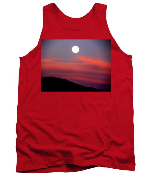 Tank Top featuring the photograph Pink Clouds With Moon by Joseph Frank Baraba