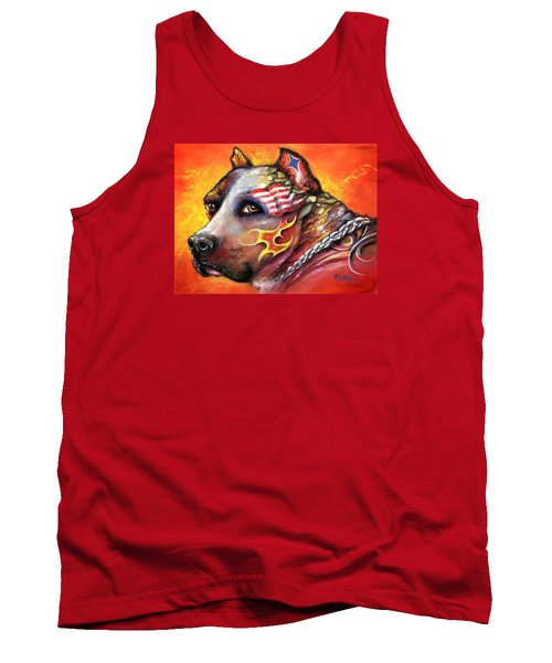 Tank Top featuring the pastel Pit Bull by Patricia Lintner