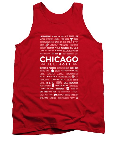 Tank Top featuring the digital art Places Of Chicago On Red Chalkboard by Christopher Arndt