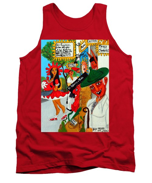 Tank Top featuring the painting Pneumatic Girl At The Railroad Station by Don Pedro De Gracia