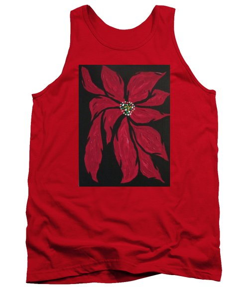 Tank Top featuring the painting Poinsettia - The Season by Sharyn Winters