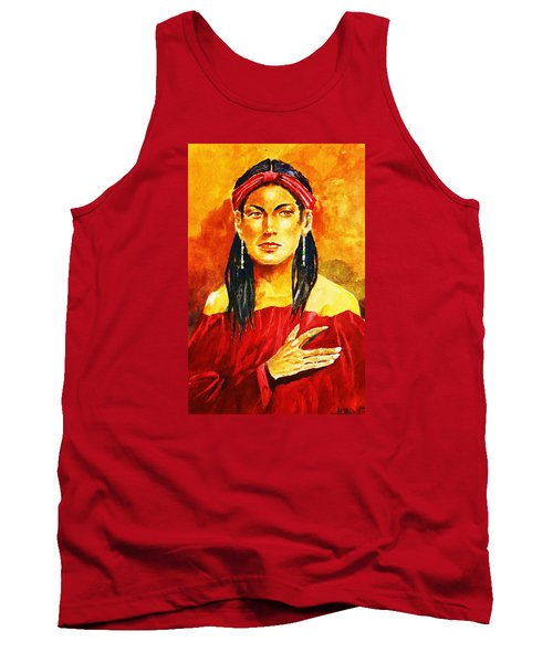Tank Top featuring the painting Poised In Scarlet Garment by Al Brown