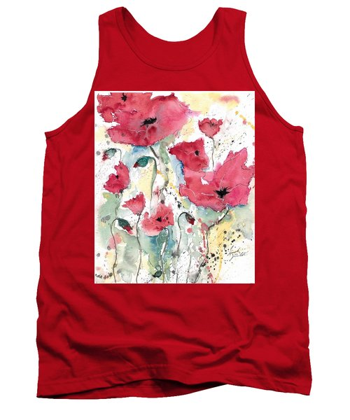 Poppies 10 Tank Top by Ismeta Gruenwald