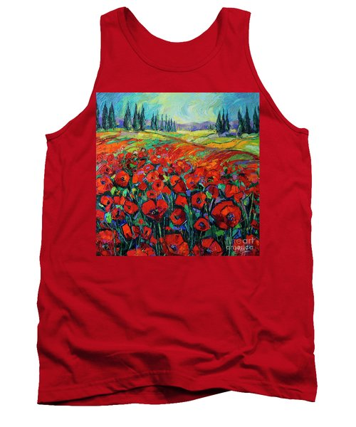 Poppies And Cypresses - Modern Impressionist Palette Knives Oil Painting Tank Top