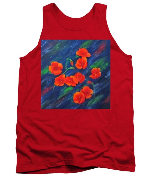 Poppies In Abstract Tank Top by Roseann Gilmore