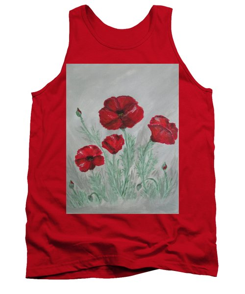 Poppies In The Mist Tank Top by Sharyn Winters