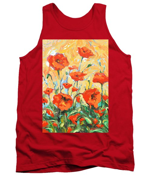 Poppies On A Yellow            Tank Top by Dmitry Spiros