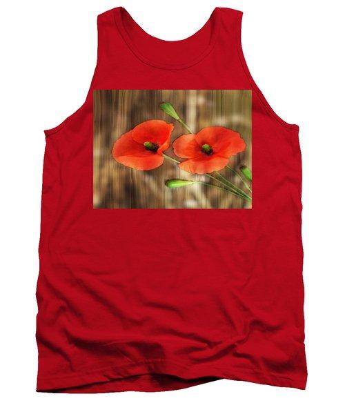 Poppies On Barnwood Tank Top