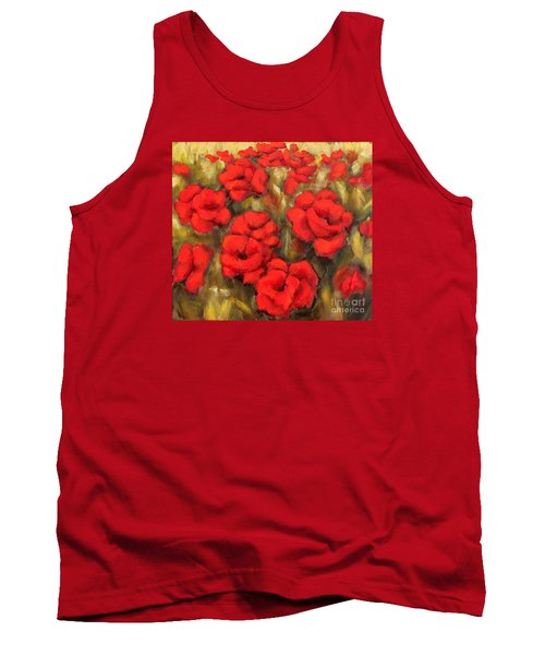 Poppies Passion Fragment Tank Top by Inese Poga