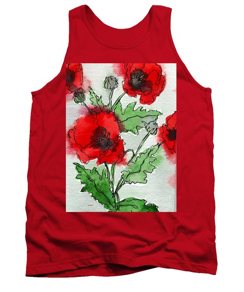 Watercolor Poppies Tank Top