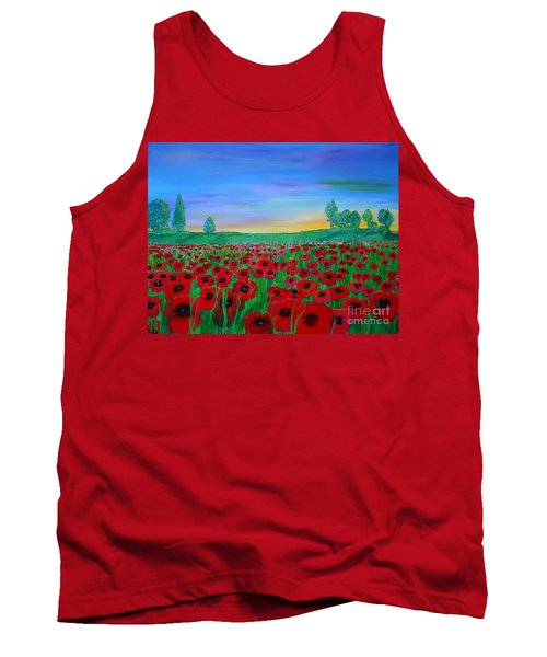 Poppy Field At Sunset Tank Top