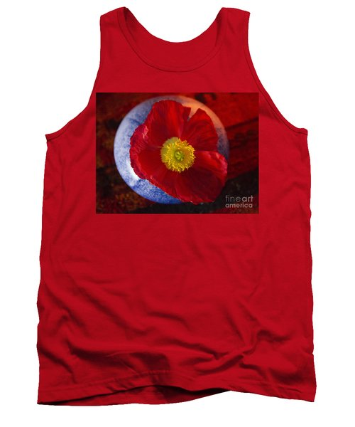 Tank Top featuring the photograph Poppy On Orange by Jeanette French