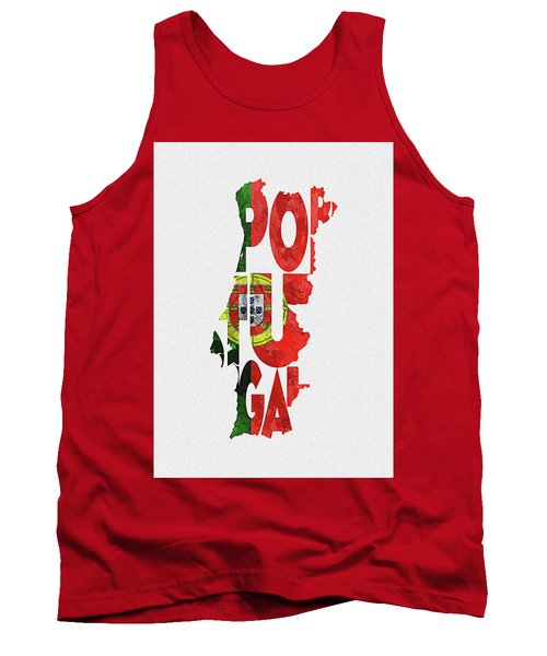 Portugal Typographic Map Flag Tank Top