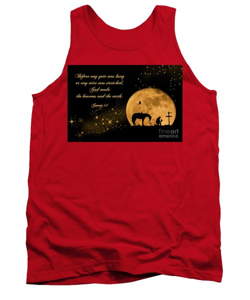 Tank Top featuring the photograph Prayer Of A Cowboy by Bonnie Barry