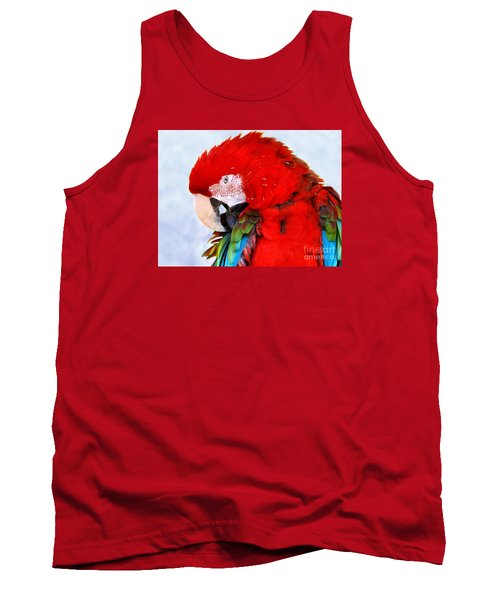 Tank Top featuring the photograph Preening Macaw by Debbie Stahre