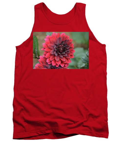 Pretty Blooming Red Dahlia Flower Blossom Tank Top