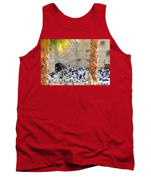 Tank Top featuring the photograph Prayer Of Shaharit At The Kotel During Sukkot Festival by Yoel Koskas
