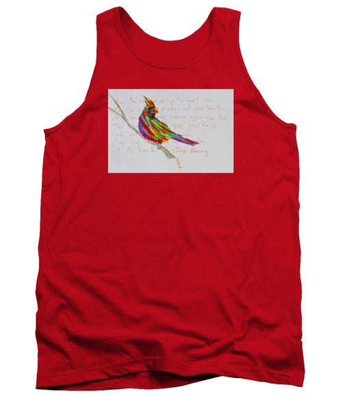 Proud Cardinal With Blessing Tank Top by Beverley Harper Tinsley