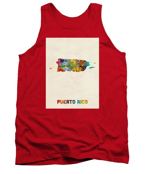 Puerto Rico Watercolor Map Tank Top by Michael Tompsett
