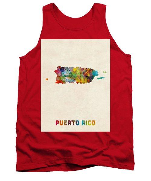 Puerto Rico Watercolor Map Tank Top