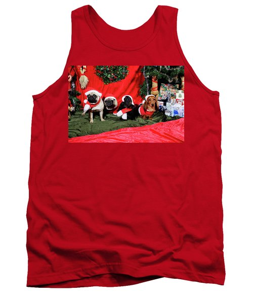 Pugs And Dachshounds Dressed As Father Christmas Tank Top