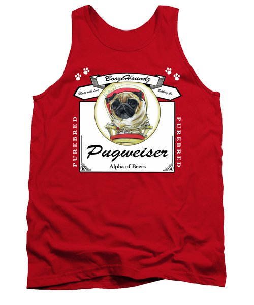Pugweiser Beer Tank Top by John LaFree