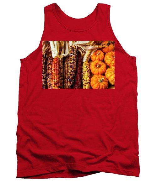Pumpkins And Indian Corn Tank Top