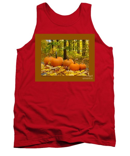 Tank Top featuring the photograph Pumpkins And Woods-iii by Patricia Overmoyer