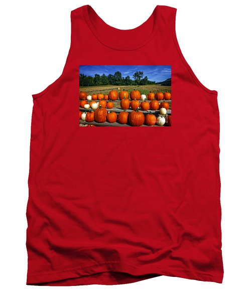 Pumpkins In A Row Tank Top by Dee Flouton