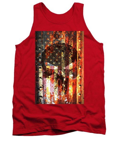 Punisher Skull On Rusted American Flag Tank Top by M L C