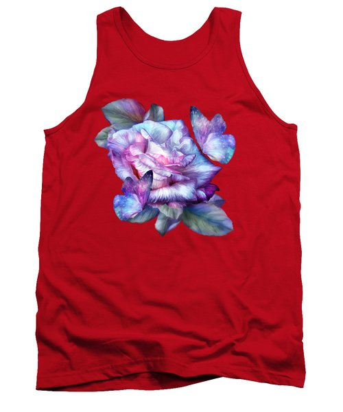 Tank Top featuring the mixed media Purple Rose And Butterflies by Carol Cavalaris
