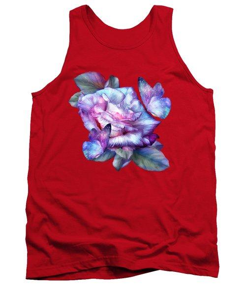 Purple Rose And Butterflies Tank Top