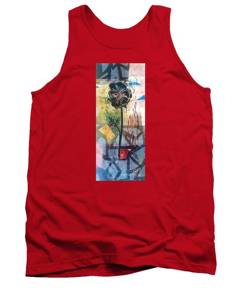 Tank Top featuring the mixed media Puzzled Floral by Cynthia Lagoudakis