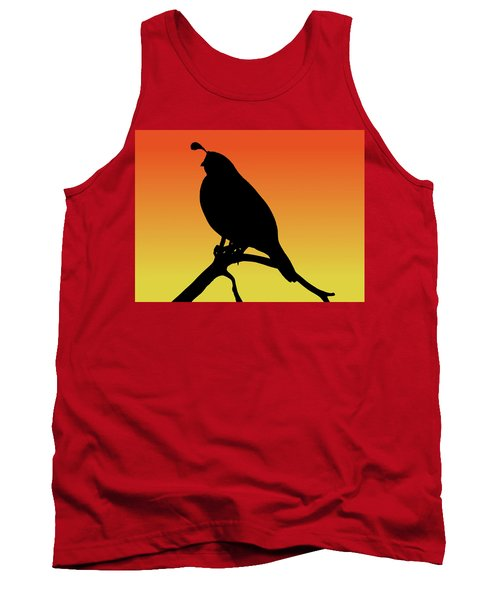 Quail Silhouette At Sunset Tank Top